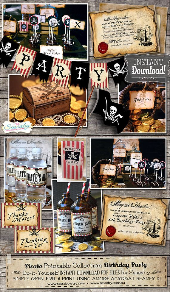 Pirate Birthday Party Collection  INSTANT DOWNLOAD  by Sassaby
