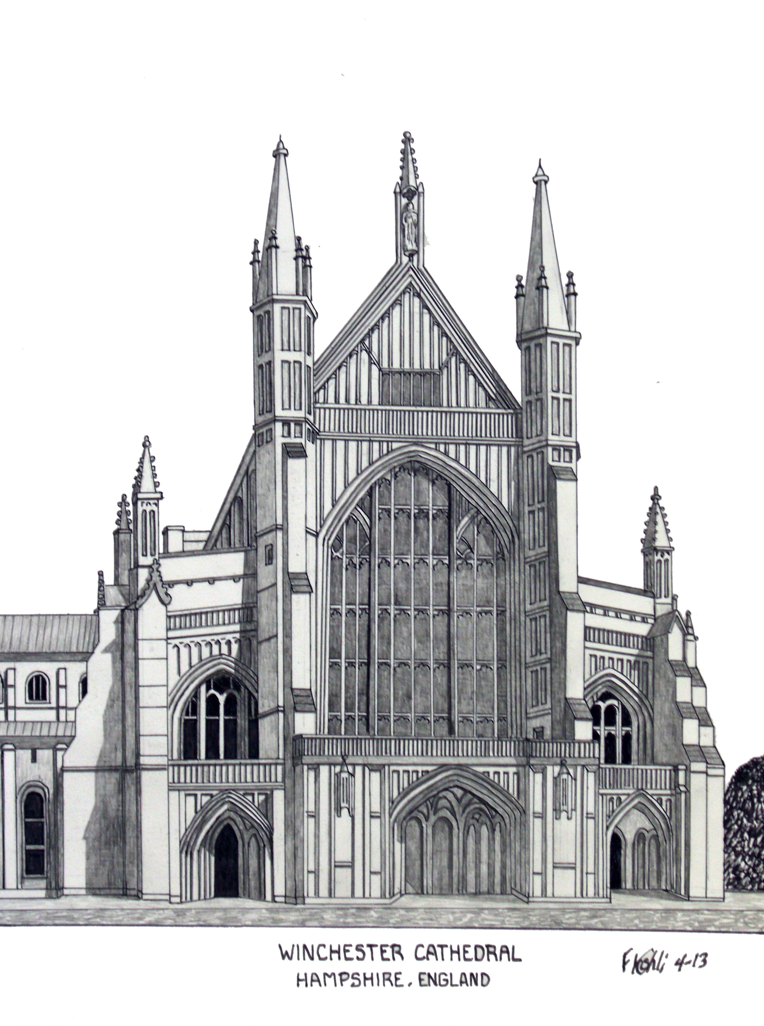 Winchester cathedral pen and pencil drawing by frederic kohli of the historic cathedral in the