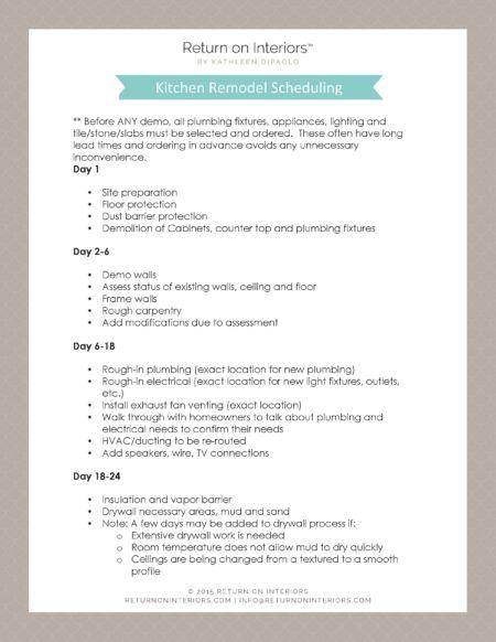 Kitchen Remodel Scheduling Return On Interiors Bathroom Remodel Schedule Remodel Schedule Remodel