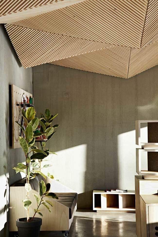 Betonwand Holz Möbel zweisitzer Sofa Empfangsraum … | Architektur in ...