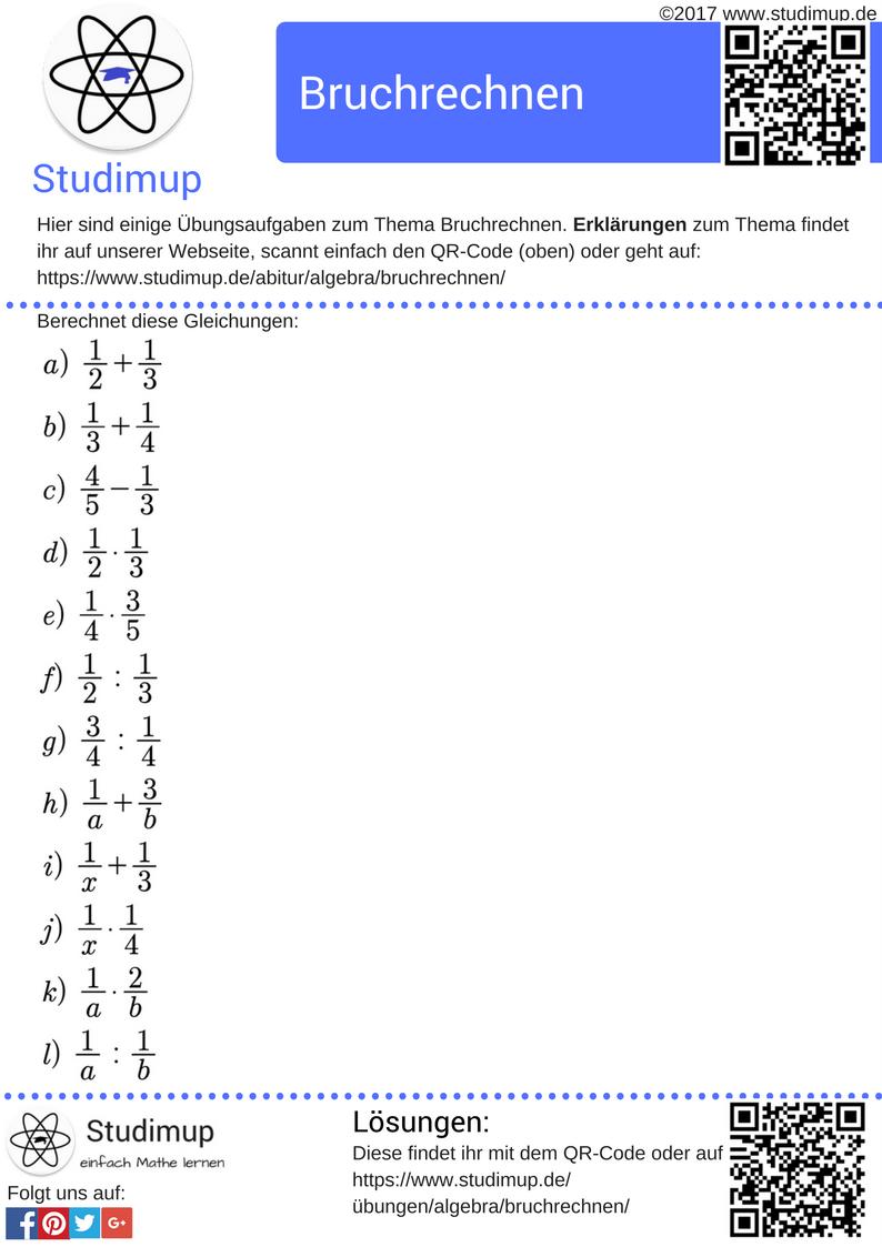 Übungsaufgaben zum Bruchrechnen. Mathe üben mit Aufgaben von ...