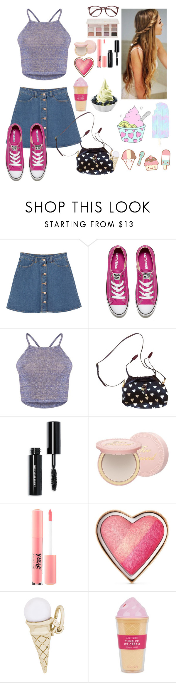 """I love Froyo oh,oh oh-oh it's so yolo oh,oh oh-oh oh-oh"" by aby-ocampo ❤ liked on Polyvore featuring Monki, Converse, Burberry, Bobbi Brown Cosmetics, Too Faced Cosmetics, Disney, Rembrandt Charms and Sunnylife"