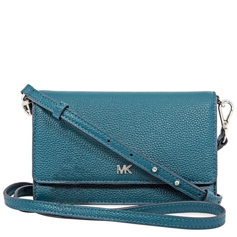 9030f9e052c2 Micheal Kors Pebbled Leather Convertible Crossbody- Teal 32T8SF5C1L-402