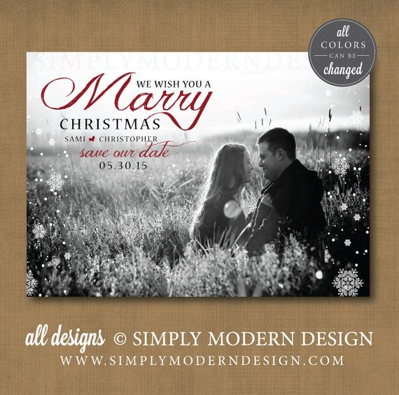 Marry Christmas Merry Save The Date Card Wedding Www Simplymoderndesign