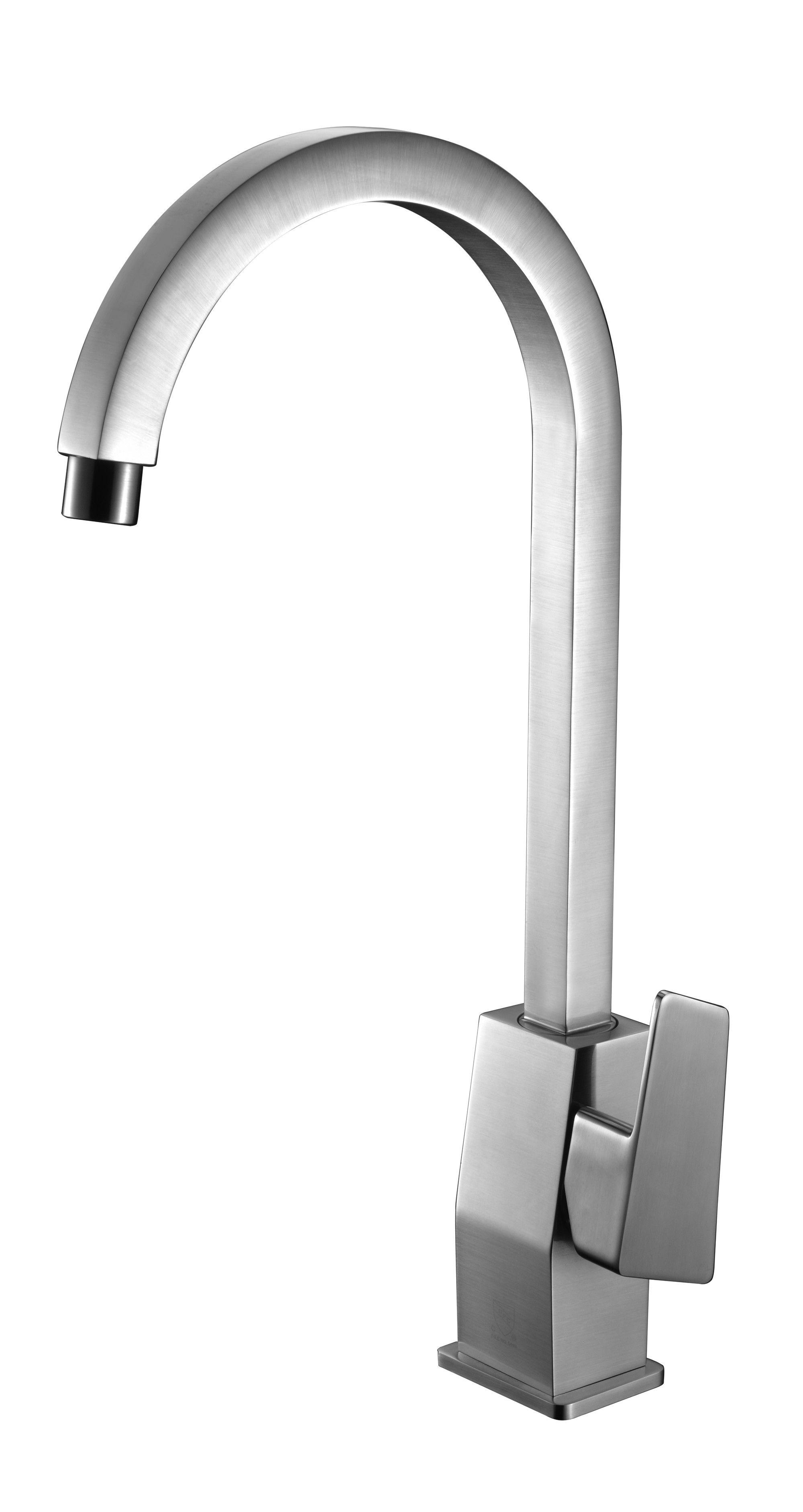 ALFI brand AB3470-BN Brushed Nickel Gooseneck Single Hole Bathroom ...