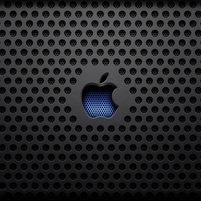 Ipad Wallpaper Recessed Blue Apple Logo On Black Metal Grid Hd Ipad Wallpapers Apple Logo Wallpaper Hd Apple Wallpapers