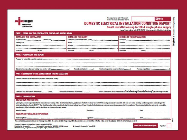 A Simple Guide To Electrical Installation Condition Report With Regard To Electrical Installation Tes In 2020 Electrical Installation Certificate Templates Electricity