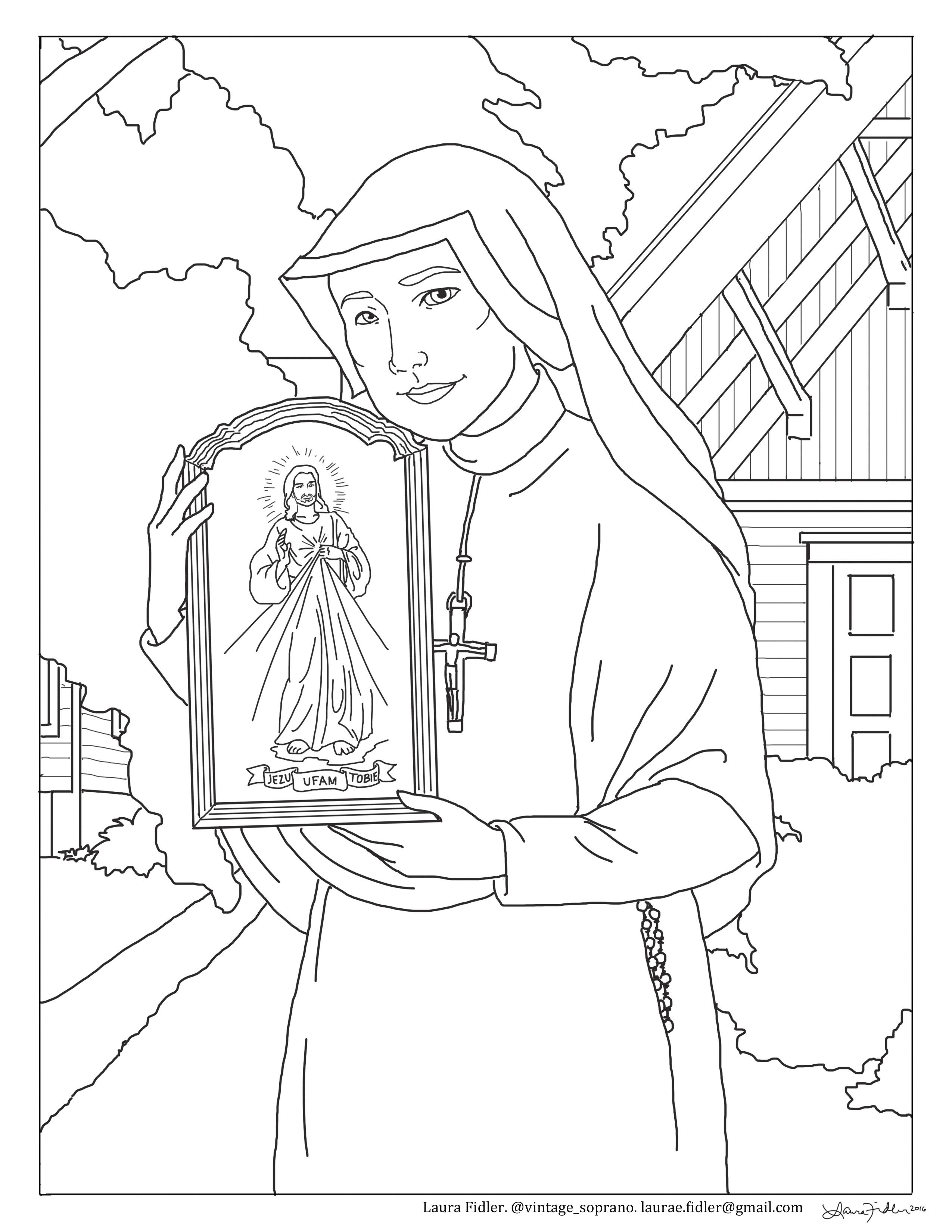 Free St Faustina Divine Mercy Coloring Page Divine Mercy Sunday