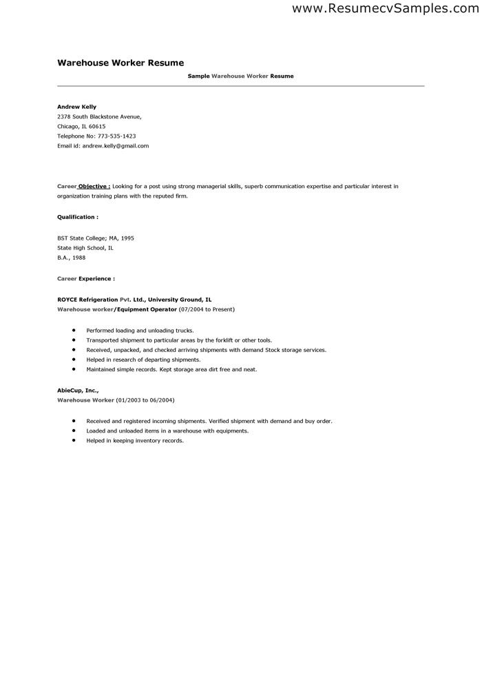 sample resume for warehouse position template forklift effective - resume warehouse worker