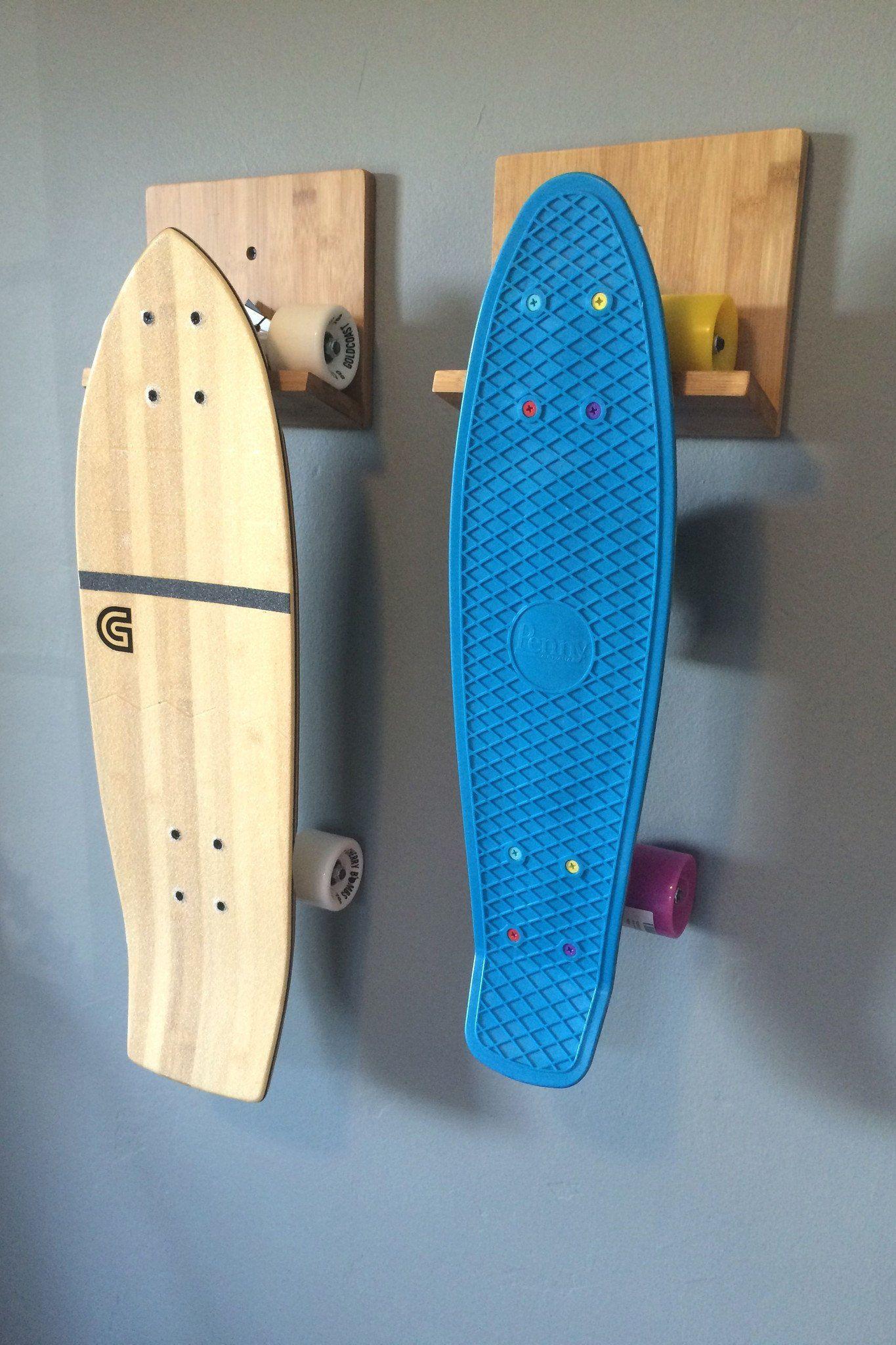 Skateboard Wall Rack Bamboo Or Black Skateboard Storage Skateboard Rack Surfboard Storage