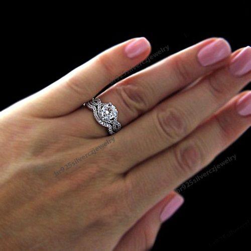 18k white gold plated round diamond bridal womens infinity wedding ring set br925silverczjewelry anniversaryengagementweddingdailywearparty - Infinity Wedding Ring Set