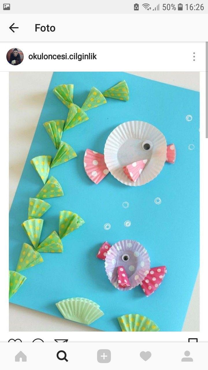 Kağıt Tabaktan Balık Yapımı Resimli Anlatım