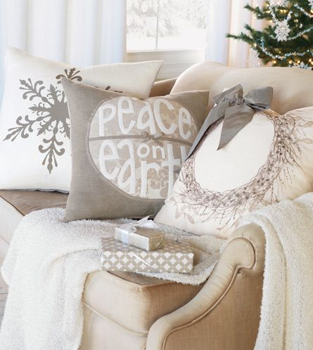 peace on earth pillow -- lots of beautiful pillows at this site. www.easternaccent...
