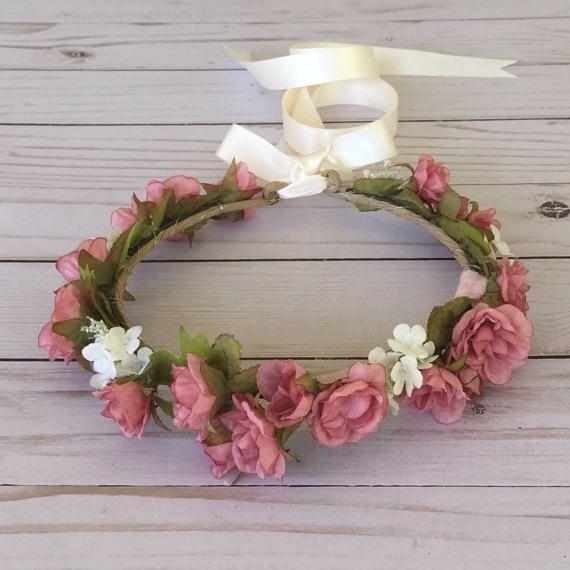 Dusty Rose Flower Crown Pink Flower Girl Flower Crown Boho Etsy Rose Flower Crown Boho Flower Crown Flower Crown