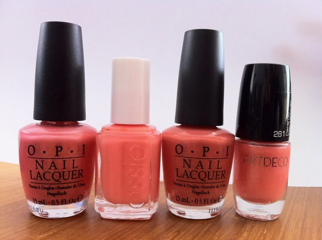 Coral Nailpolish - OPI: Melon of Troy, Essie: Tart Deco, OPI: Are we ...
