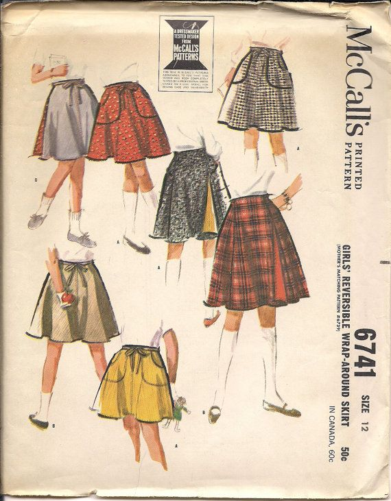 1963 Sewing Pattern McCall\'s 6741 girls wrap-around skirt size 12 ...
