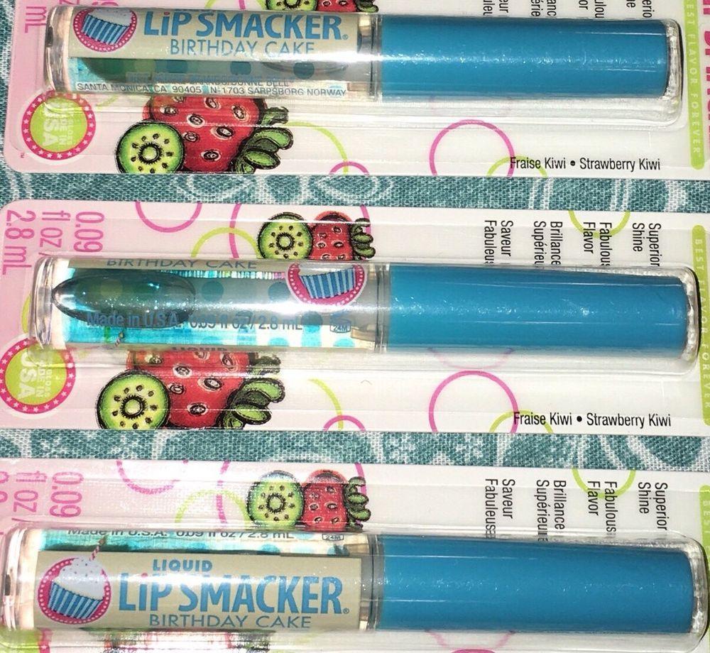 Lot Of 3 New Liquid Lip Smacker Birthday Cake Sponge On Lip Glosses