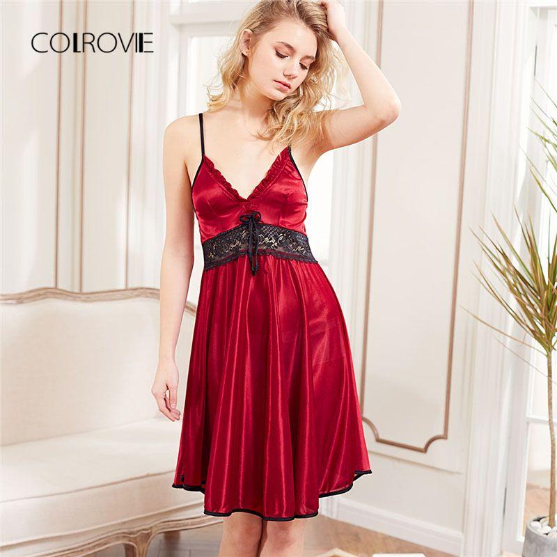 61e52c7f92f New Fashion Red Sleeveless Lace Panel Slip Nightgowns Spaghetti Strap Night  Dress Sleepwear Sexy Dress