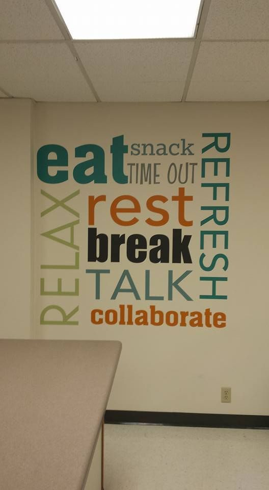 Great Colors For This Custom Uppercaseliving Breakroom Design Atwork Break Room Teachers Room Break Room Decor