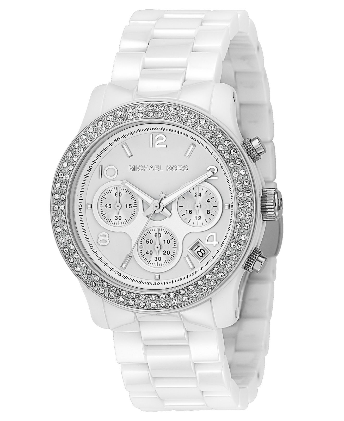 Michael Kors Watch Women S Chronograph Runway White Ceramic Bracelet 31mm Mk5188 For Her Jewelr Watches Women Michael Kors Michael Kors Watch Michael Kors