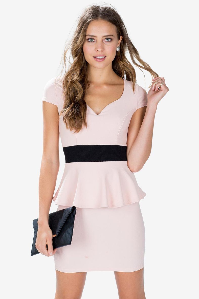 Blush peplum dress