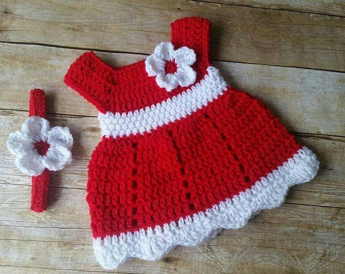 Crochet Baby Dress, Infant Red and White 3-6 mo en 2018 | Vestidos ...