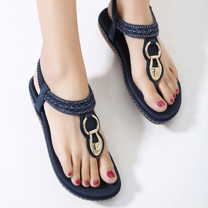 Bohemia/Summer/Women/Ladies/Metal Wedges Sandals Beach Flops Flip Slipper Shoes
