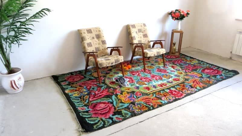 Kilim ancien rose rug area for Alfombras baratas madrid