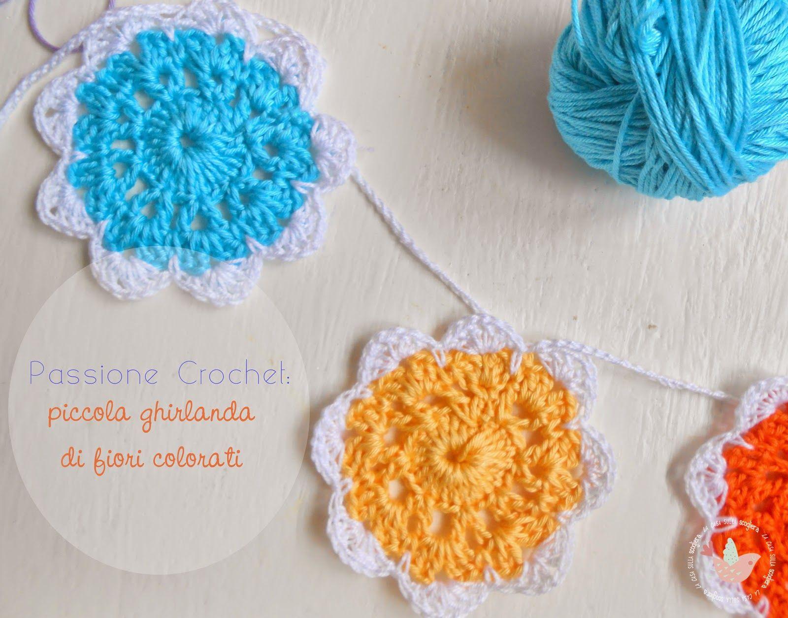 Photo of Passione Crochet: piccola ghirlanda di fiori colorati – Facciamo entrare un po' …