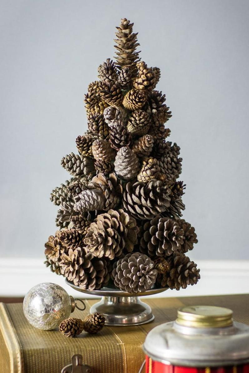 These Tiny Christmas Tree Ideas Are Perfect If You Have No Space Small Christmas Trees Pine Cone Christmas Tree Cone Christmas Trees