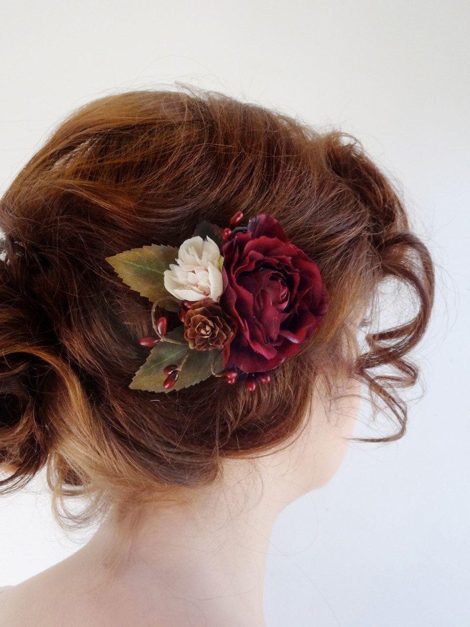 burgundy hair accessory, bridal hair clip, burgundy flower hair clip
