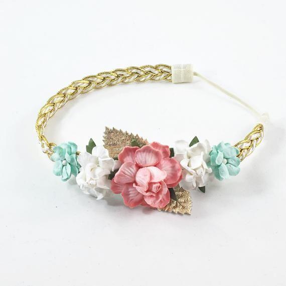 Coral Headband, mint headband, flower crown Headband, coral flower Headband, Coral and white headban #crownheadband