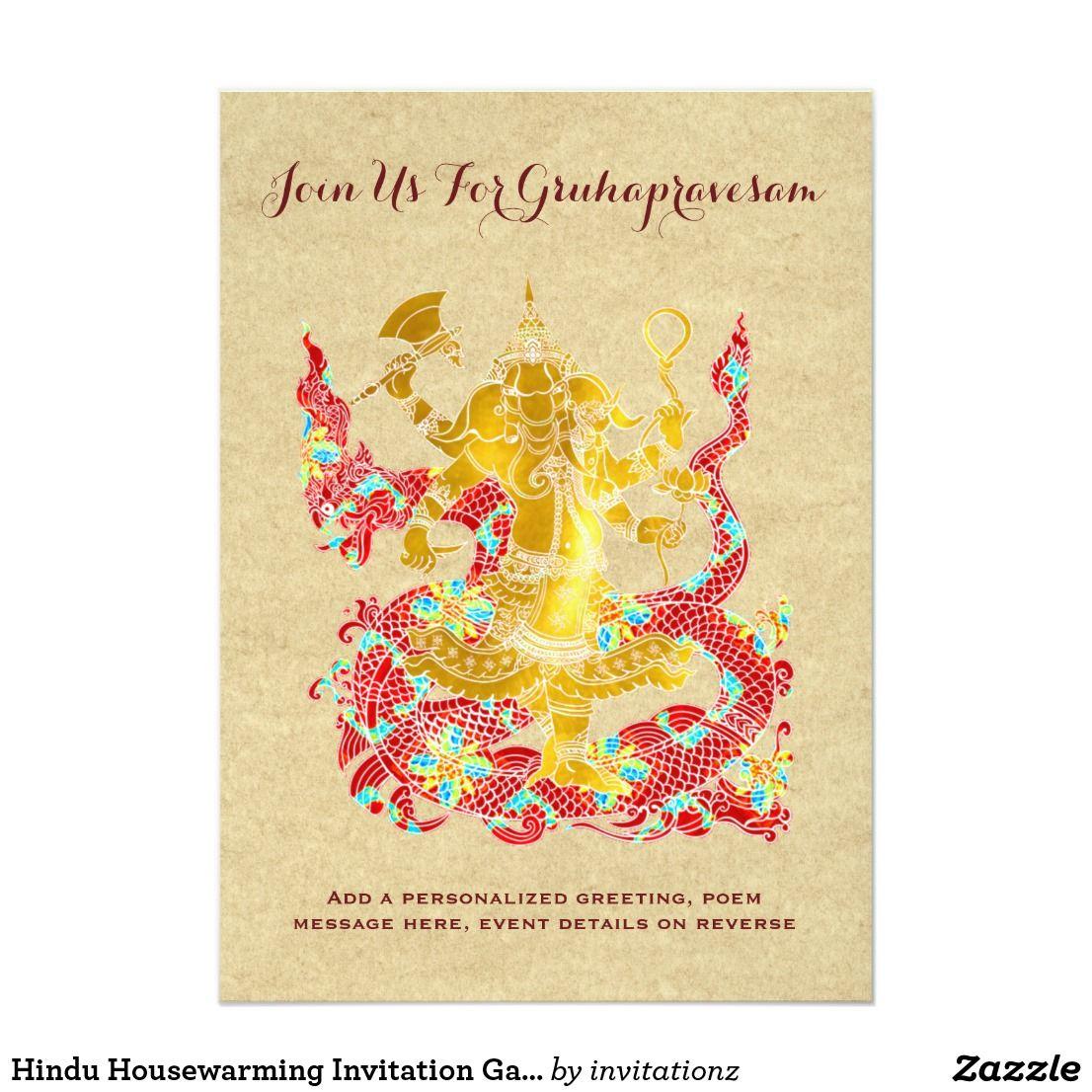Hindu Housewarming Invitation Ganesh Gruhapravesam With Images