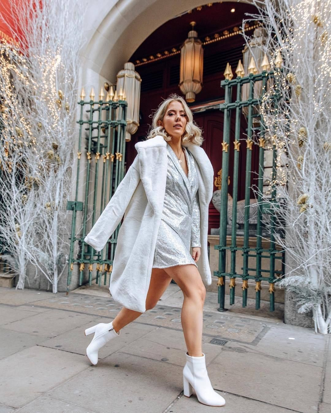 Find Out Where To Get The Dress Dresses Silver Blazer Dress With Boots [ 1350 x 1080 Pixel ]