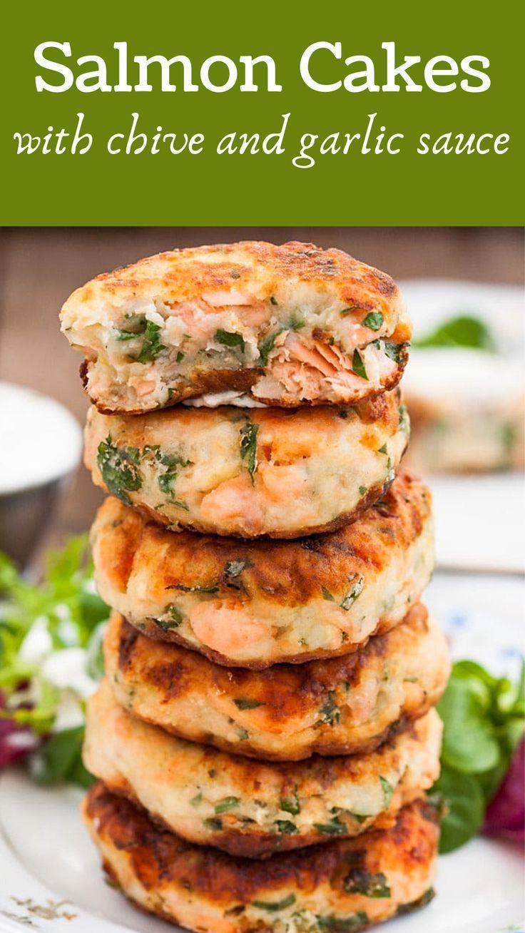 Salmon Cakes with Chive and Garlic Sauce - Vikalinka