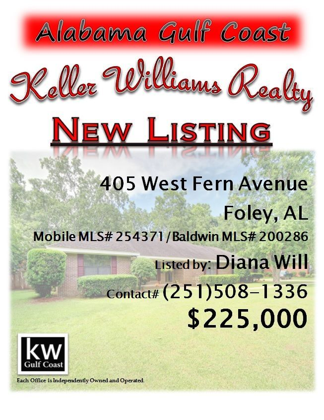 405 West Fern Avenue, Foley, AL...MLS 200286...225,000