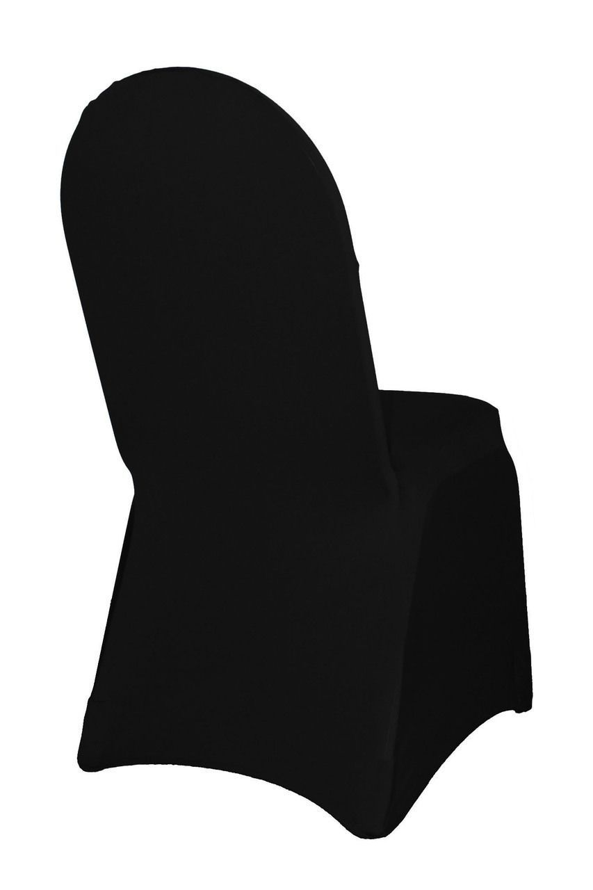 Black Spandex Stretch Chair Covers Chaircovers With Images Spandex Chair Covers Banquet Chair Covers Black