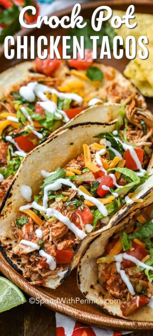 CrockPot Chicken Tacos are an easy family favorite meal! A handful of ingredients tossed into the slow cooker makes the most tender flavorful chicken for tacos! #spendwithpennies #chickentacos #crockpot #slowcooker #chickenburritos #chickennachos #chickenenchiladas #easyrecipe #easymeal #weeknightmeal #favourites