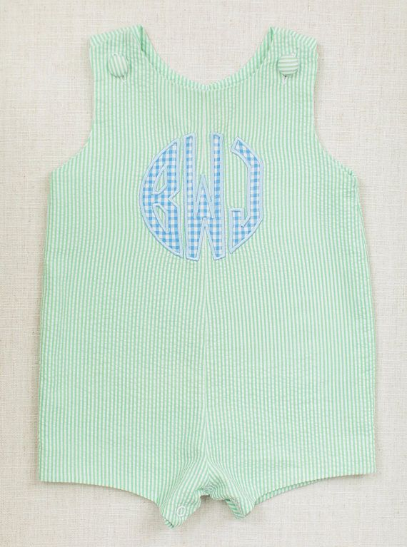 3334867bd baby boy embroidered jon jon monogram green seersucker john john ...