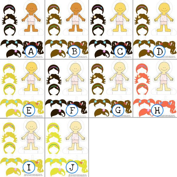 From Printable Treats Paper Dolls With Change Of Hair Style In Different Ethnicities