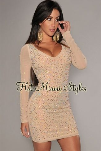 Nude Mesh Iridescent Allover Stones Dress Womens clothing clothes hot miami  styles hotmiamistyles hotmiamistyles.com sexy club wear evening clubwear ... 8a149472f