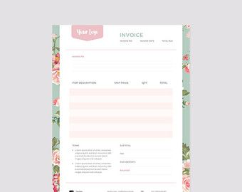Invoice Template Photography Invoice Business By StudioStrawberry - Florist invoice template