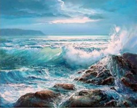 Waves Crashing On Rocks Landscape Paint By Number Numeral Paint Ocean Painting Seascape Paintings Landscape Paintings