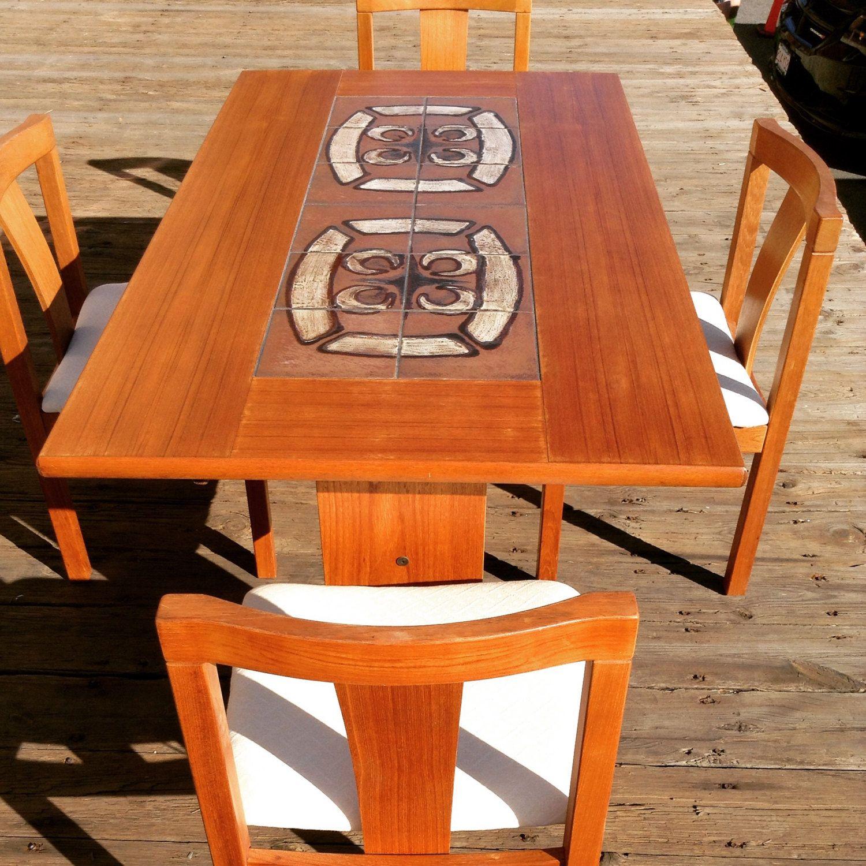 Mid Century Danish Ox Art Table Chairs   Modern Danish Tile Top Teak Table    DanishMid Century Danish Ox Art Table Chairs   Modern Danish Tile Top  . Mid Century Teak Dining Table And Chairs. Home Design Ideas