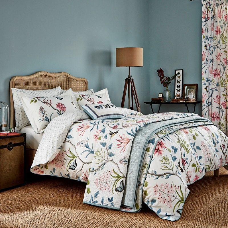 Sanderson Clementine Bedding In Pink And Duck Egg Luxury Bedding