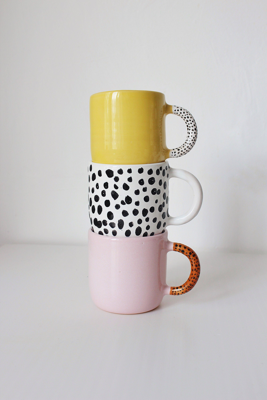 Polka dot ceramic coffee mug, Handmade pottery tea mug, Unique coffee mug, Black and White pottery mug, Latte Cup, Tea mugs, Ceramic cups #teamugs