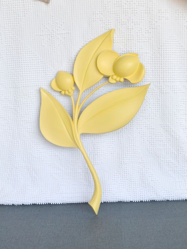 Large Yellow Wall Flower Upcycled Vintage Syroco Resin Wall Flower ...