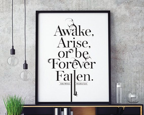Paradise Lost John Milton Inspirational Print Typography Motivational Prints Essay On