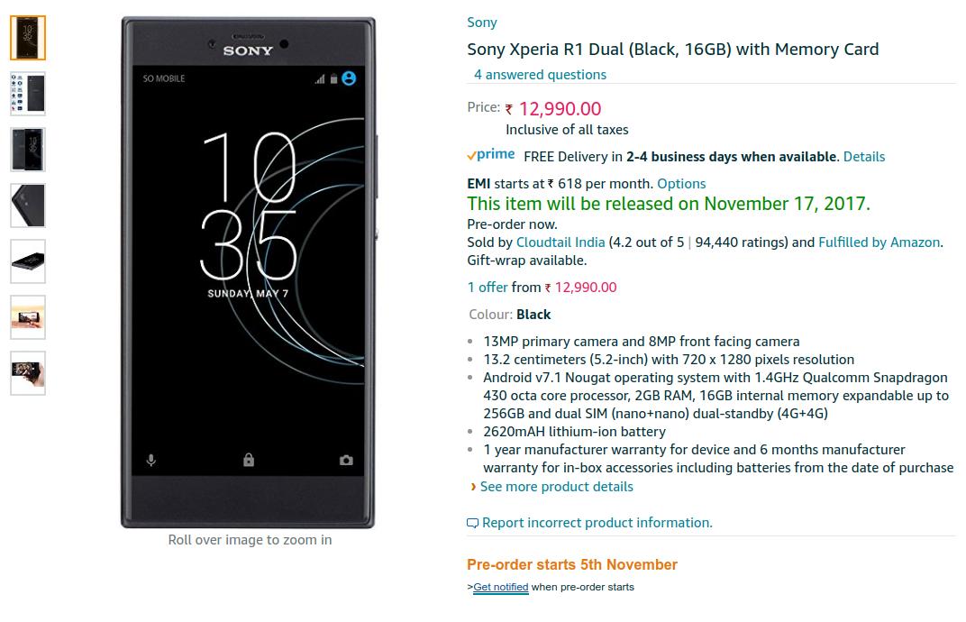 Preorder Sony Xperia R1 Plus Dual on Amazon India This