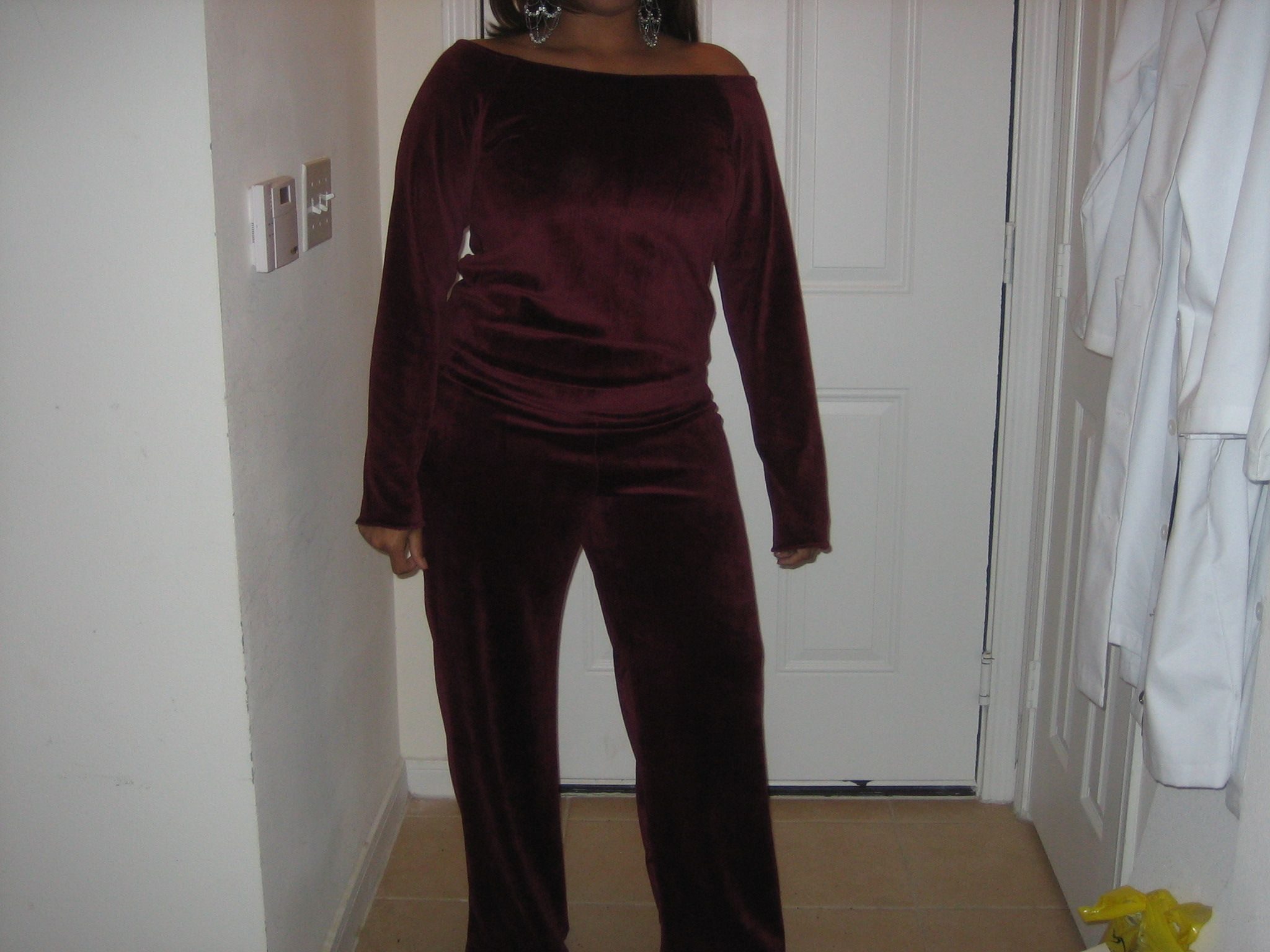 Velour off-the-shoulder jumpsuit